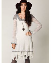 6889782552464 Lyst - Free People Tiny Dancer Sweater Dress in White