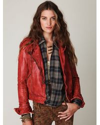 Free People | Red Muubaa Vintage Leather Jacket | Lyst
