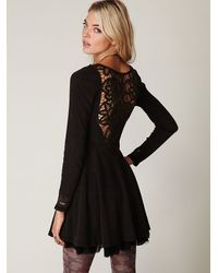 Free People | Black Battenburg Lace Dress | Lyst