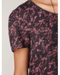 Free People | Purple Printed Short Sleeve Frill Romper | Lyst