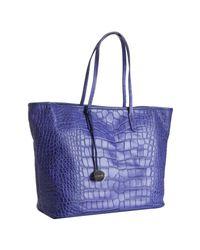 Furla - Purple Acai Croc Embossed Leather Everyone Shopper Tote - Lyst
