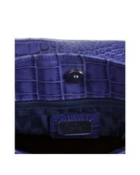 Furla | Blue Acai Croc Embossed Leather Greta Large Shopper Tote | Lyst