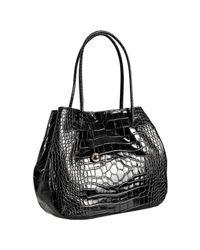 Furla | Black Onyx Crocodile Embossed Leather Giselle Medium Shoulder Bag | Lyst
