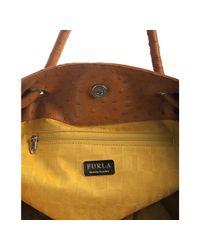 Furla - Brown Orange Ostrich Embossed Leather Carmen Tote - Lyst