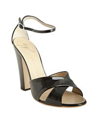 Giuseppe Zanotti | Black Patent Leather Crisscross Heeled Sandals | Lyst