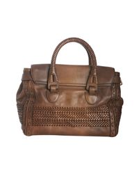 Gucci - Brown Woven Leather Handmade Large Top Handle Bag - Lyst