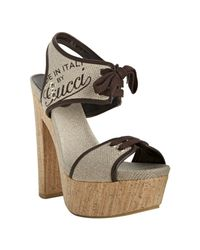 Gucci - Gray Natural Canvas and Leather Winona Cork Platform Sandals - Lyst