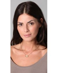 House of Harlow 1960 Metallic Small Hematite Pave Pendant Necklace
