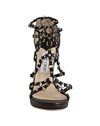 Jimmy Choo - Black Liara Studded Leather Strappy Sandals - Lyst