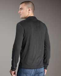 John Varvatos - Black Long-sleeve Polo, Sting Ray for Men - Lyst