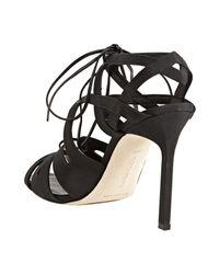 Manolo Blahnik - Black Fabric Netochka Lace-up Sandals - Lyst