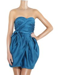 Marc By Marc Jacobs Blue Lela Strapless Silk Dress