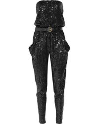 MICHAEL Michael Kors | Black Strapless Sequined Jumpsuit | Lyst