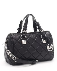 Michael Kors | Medium Grayson Quilted Satchel, Black | Lyst