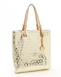 Michael Kors | Monogram Mirror Metallic North South Tote, Gold | Lyst