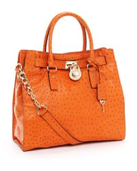 Michael Kors - Orange Large Hamilton Ostrich-embossed Tote, Tangerine - Lyst