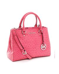 Michael Kors | Medium Bedford Ostrich Embossed Dressy Tote, Electric Pink Ostrich | Lyst