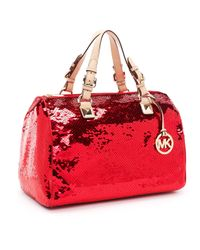 Michael Kors | Large Grayson Sequin Satchel, Red | Lyst