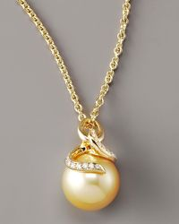 Mikimoto - Metallic Pearl & Diamond Pendant Necklace - Lyst