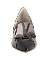 Miu Miu | Gray Black and Clay Patent Leather Mary Jane T-strap Kitten Heels | Lyst