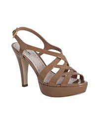 Miu Miu | Brown Strappy Patent Platform Sandal | Lyst