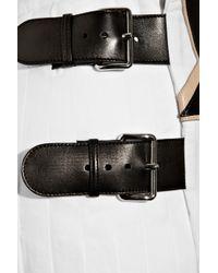 Miu Miu White Leather-appliquéd Cotton and Linen-blend Wrap Skirt