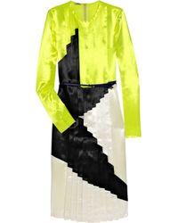 Miu Miu Yellow Pleated Color-block Satin Dress