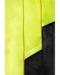 Miu Miu | Yellow Pleated Color-block Satin Dress | Lyst