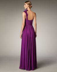 Notte by Marchesa - Purple One-shoulder Flower-detail Gown - Lyst