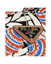Prada - Black Floral Printed Canvas Tote - Lyst