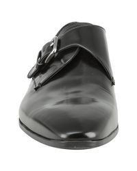 Prada | Black Leather Monk Strap Loafers for Men | Lyst