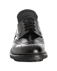 Prada   Black Leather Rubber Lug Wing-tip Oxfords for Men   Lyst