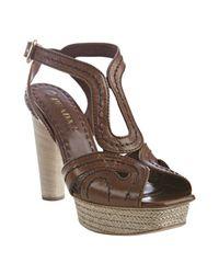 Prada | Brown Stitched Vitello Leather Platform Sandals | Lyst
