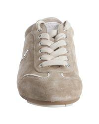 Prada - Natural Sport Desert Suede Gold Trimmed Sneakers - Lyst