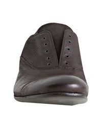 Prada | Black Ebony Goatskin Leather Slip-on Cap Toe Oxfords for Men | Lyst