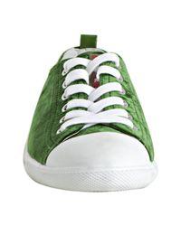 Prada - Sport Green Velvet Cap Toe Sneakers - Lyst