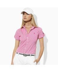 Ralph Lauren Golf Pink Alex Striped Broadcloth Shirt