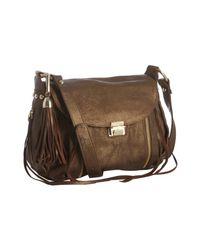 Rebecca Minkoff | Metallic Bronze Embossed Leather Beloved Mini Flap Crossbody Bag | Lyst