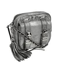 Rebecca Minkoff | Metallic Silver Blackwash Leather Boyfriend Crossbody Bag | Lyst