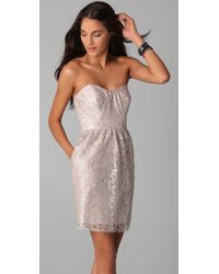 Shoshanna | Natural Strapless Metallic Lace Dress | Lyst