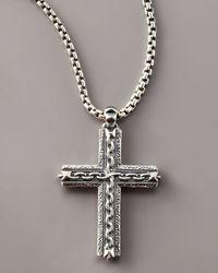 Stephen Webster Metallic Oxidized Cross Necklace for men