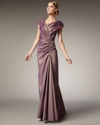 Tadashi Shoji | Purple Ruched Taffeta Gown | Lyst