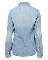 TOPSHOP - Blue Denim Fitted Shirt - Lyst