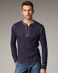 Vince   Blue Plated Thermal Henley for Men   Lyst