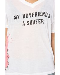 Wildfox - White The Surfer Boyfriend Oversized V-neck Tee - Lyst