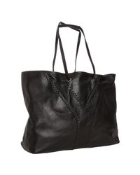 Saint Laurent | Black and Pewter Leather Neo Double Reversible Tote | Lyst