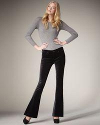 7 For All Mankind - Jiselle Flared Velvet Pants, Black - Lyst