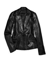 Alexander Wang - Black Leather Boyfriend Blazer - Lyst