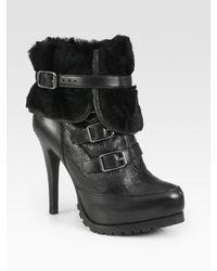 Ash | Black Enigma Faux Rabbit Fur-lined Ankle Boots | Lyst