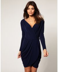 ASOS Collection | Blue Asos Drape Dress with Cross Front | Lyst